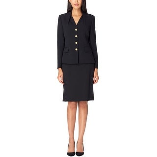 Link to Tahari Womens Reverse Pleat Four Button Blazer Jacket, Black, 4 Similar Items in Suits & Suit Separates