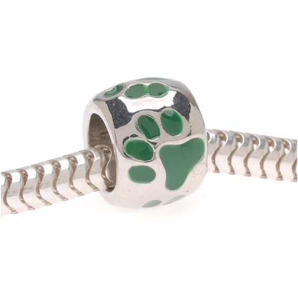 Silver Tone European Style Large Hole Bead With Green Enamel Paw Prints (1)