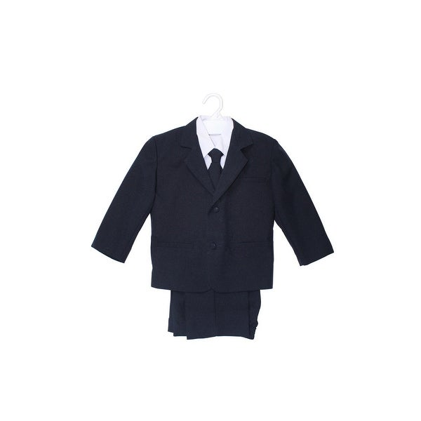 Wallao Boys Formal Suit Set with Shirt and Vest Navy Blue - Navy Blue