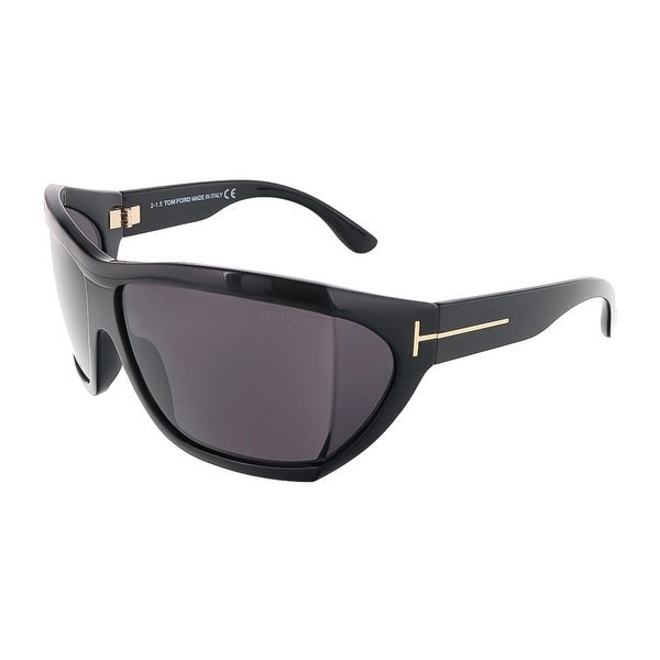 Tom Ford FT0402/S 01A SEDGEWICK Shiny Black Oversized Wrap sunglasses