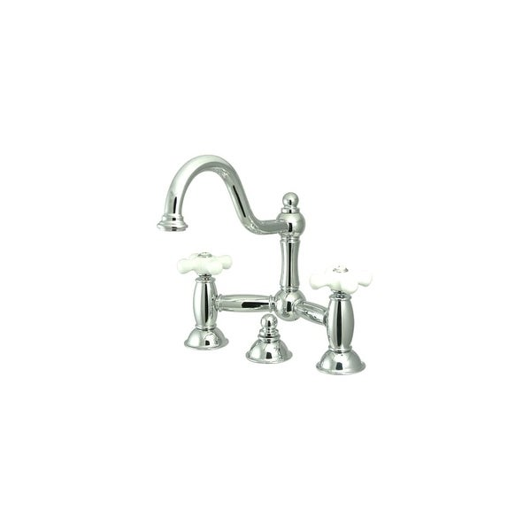 Shop Elements Of Design Es3911px Double Handle 8 Center Bridge Bathroom Faucet With Porcelain