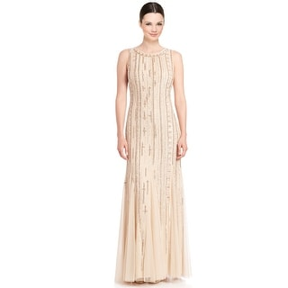 Aidan Mattox Beaded Open Back Sleeveless Godet Formal Evening Gown Dress