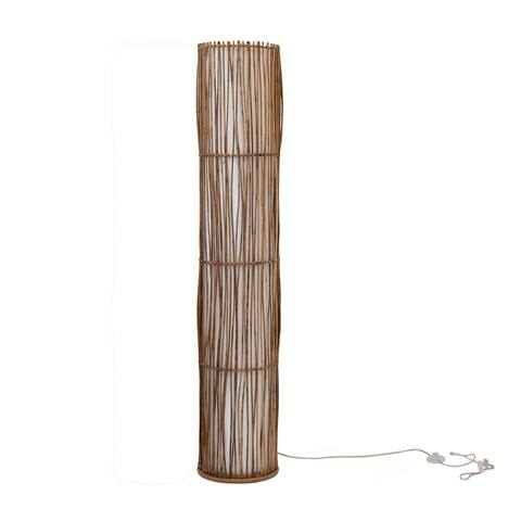 Contemporary Remegio Standing Floor Lamp with Hand-Woven Rattan and Ivory Fabric Shade - Natural
