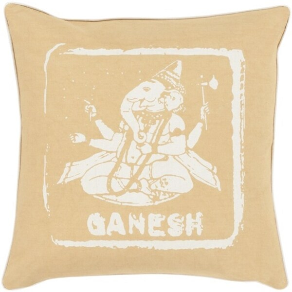 "22"" Fawn Brown and Ivory Ganesh Big Kid Blocks Decorative Square Throw Pillow"