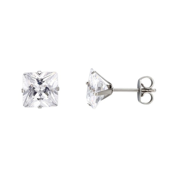 Clear Princess Cut Earrings Surgical Stainless Steel 7mm Cubic Zirconia Studs