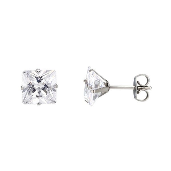 Princess Cut Mens Earrings Surgical Stainless Steel Solitaire Cubic Zirconia 5mm