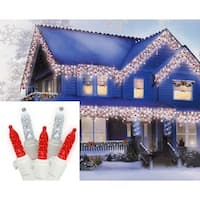 Set of 70 Red and Pure White LED M5 Icicle Christmas Lights - White Wire