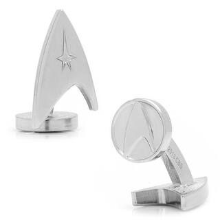 Silver Star Trek Delta Shield Cufflinks|https://ak1.ostkcdn.com/images/products/is/images/direct/7066fb42d0d77a519ebe47fc5a77c6fa24304581/Silver-Star-Trek-Delta-Shield-Cufflinks.jpg?impolicy=medium