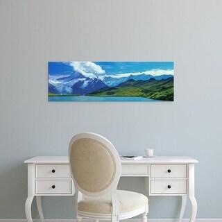 Easy Art Prints Panoramic Image 'Lake with mountain range, Bachalpsee Lake, Grindelwald, Switzerland' Canvas Art