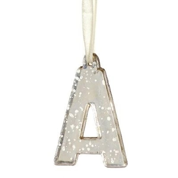 """4"""" Antique-Style Speckled Glass Monogram Letter """"A"""" Christmas Ornament - silver"""