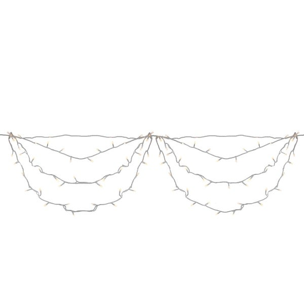 """Set of 150 Warm White LED Swag Christmas Lights 3.5"""" Spacing - White Wire"""