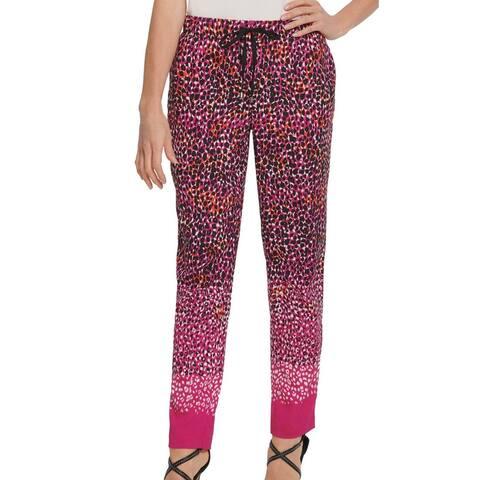 DKNY Womens Pants Pink Size XS Drawstring-Waist Leopard Print Slim Leg
