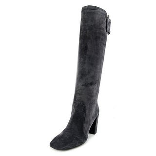Roger Vivier Bottle Peppy T.85 Women Square Toe Suede Gray Knee High Boot