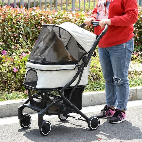 PawHut Dog Stroller with Adjustable Canopy Safety Leashes Storage Bag, Blue & Black