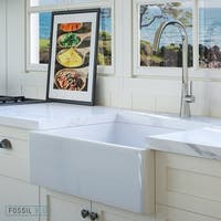 Luxury 26 inch Modern Fireclay Farmhouse Kitchen Sink in White, Single Bowl with Flat Front, includes Drain, by Fossil Blu