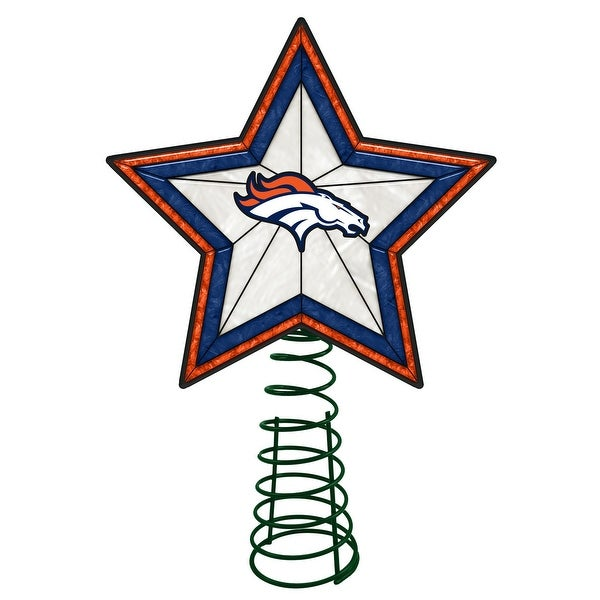 Denver Broncos Art Glass Tree Topper