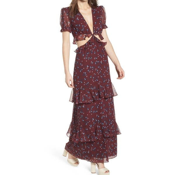 1b9899d2e9 WAYF Red Womens Size XS Cutout Plunged Ruffled Tiered Maxi Dress. Image  Gallery