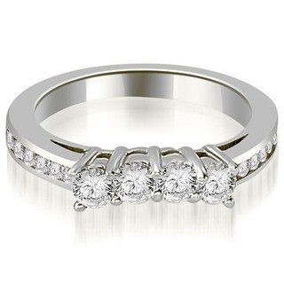0.92 CT.TW Round Cut Prong & Channel Set Diamond Wedding Band in 14KT Gold - White H-I