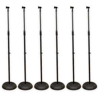 Podium Pro MS1 Adjustable Steel Microphone Stands with Clamp Mic Clips 6 Mic Stand Set MS1SET1-6S