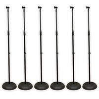 Podium Pro MS1 Adjustable Steel Microphone Stands & Clips 6 Stand Set MS1SET1-6S