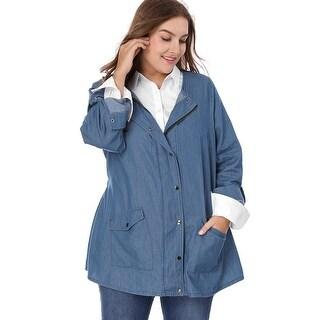 Allegra K  Women's Plus Size Roll-up Long Sleeve Snap Button Closed Denim Jacket - Blue