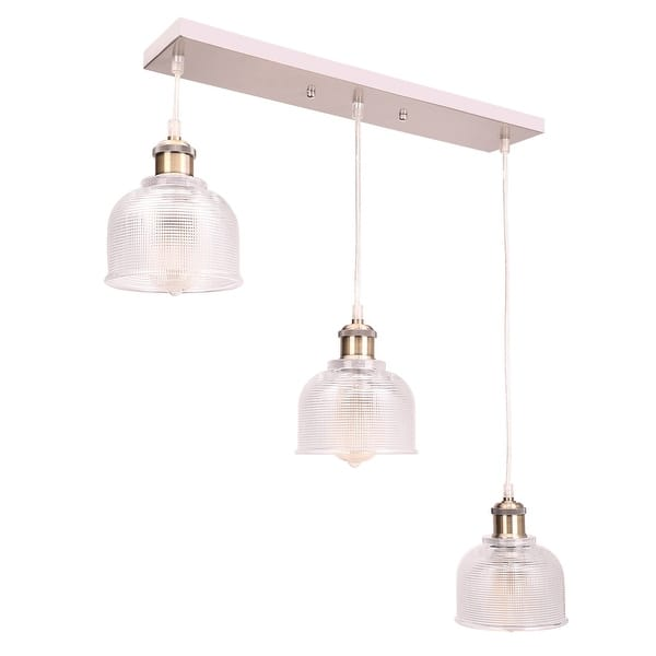 Co Z 3 Light Kitchen Island Linear Pendant With Textured Glass Shade Brushed Nickel On Sale Overstock 31415330