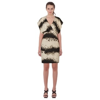 Emilio Pucci Abstract Printed Draped Split Sleeve V-Neck Cocktail Dress - 12