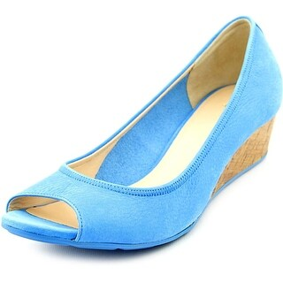 Cole Haan Air Tali OT Wedge.40 Women Open Toe Leather Blue Wedge Heel
