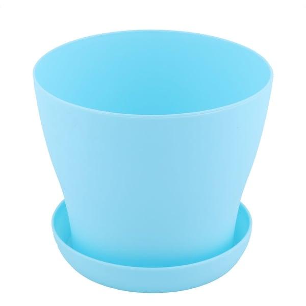 Home Plastic Round Desktop Decor Succulent Plant Holder Flower Pot Tray Blue