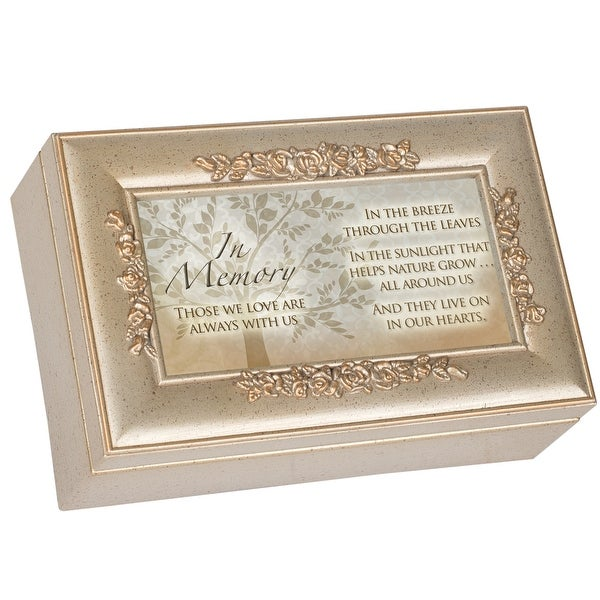 """6"""" Gold Colored and Gray Rectangular Religious Musical Box - N/A"""