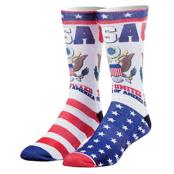 Odd Sox USA Print Country Crew Socks - United States of America Eagle Stars & Stripes - One size
