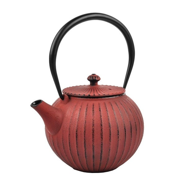 Spigo Sapporo Cast Iron Enamel Infuser Teapot, Red, 37 Ounces