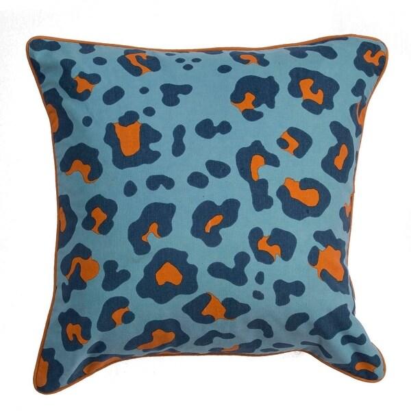 "20"" Powder Blue Navy Blue and Cheddar Orange Leopard Animal Print Decorative Throw Pillow"
