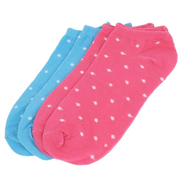 2 Pairs Blue Red Cotton Blends Elastic Cuff Low Cut Ankle Mesh Socks for Lady - Red/blue
