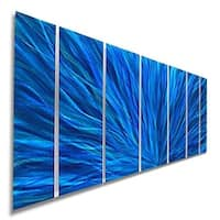Statements2000 Aqua/Blue Modern Metal Wall Art Painting Panels by Jon Allen - Blue Plumage