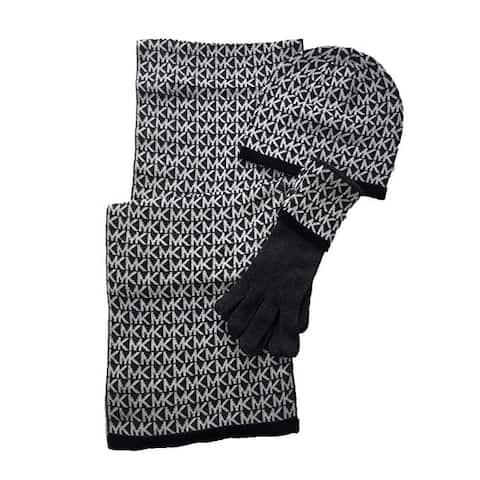 Michael Kors Women's Monogramed Knit 3-Piece Gift Box Set Scarf, Hat & Gloves