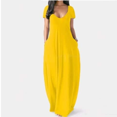 V-Neck Short Sleeve Maxi Dress With Pocket