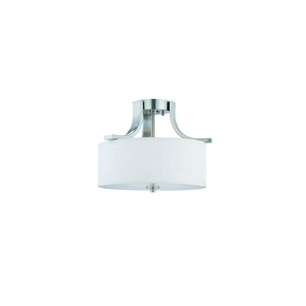 Thomas Lighting Sl8609 2 Light Semi Flushmount Ceiling Fixture With Round White Brushed Nickel
