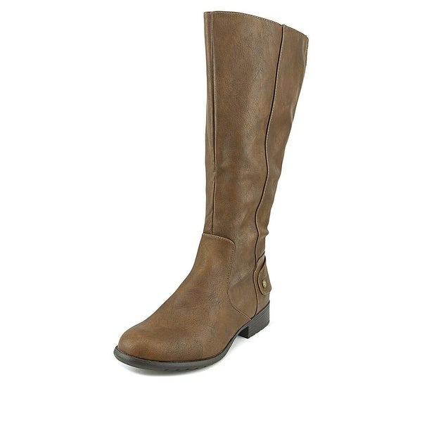 Life Stride Xyloid Wide Calf Women Round Toe Leather Brown Knee High Boot