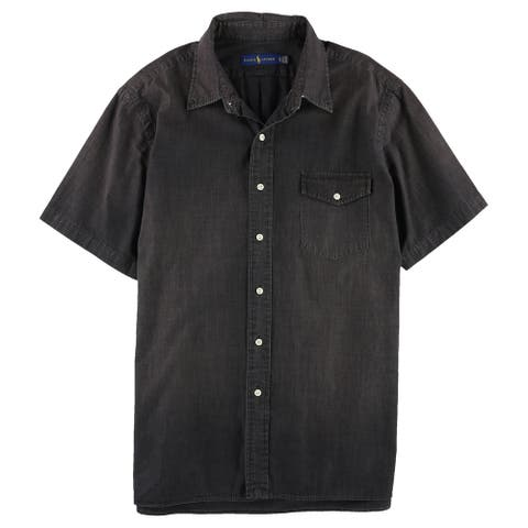 Ralph Lauren Mens Classic Button Up Shirt, Black, Small