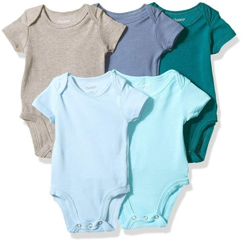 Hanes Ultimate Baby Flexy 5 Pack Short Sleeve Bodysuits - 12-18 Months