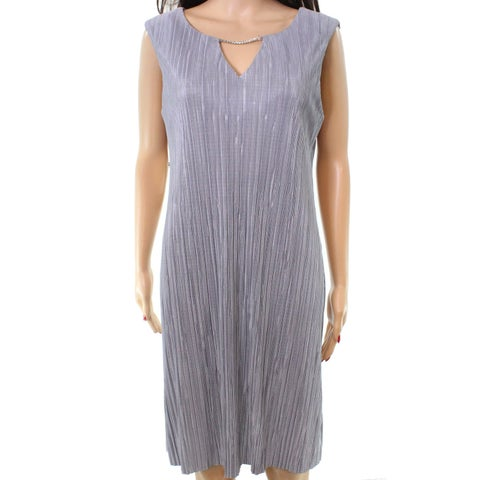 Connected Apparel Gray Womens Size 12 Hardware Keyhole Shift Dress