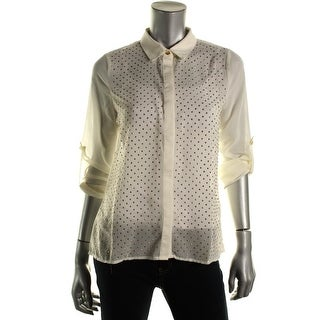 Romeo & Juliet Couture Womens Georgette Embellished Button-Down Top - S