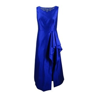 Adrianna Papell Women's Plus Size Embellished Draped Gown - ROYAL BLUE
