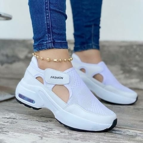 WomenS Fashion Air Cushion Sole Flying Woven Velcro Sneakers