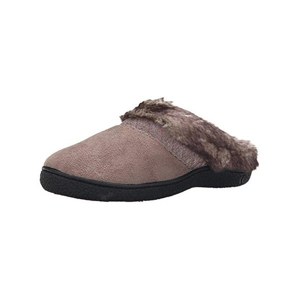 Isotoner Womens Henna Clog Slippers Microsuede Faux Fur