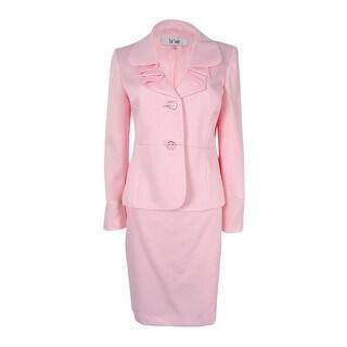 Le Suit Women's Plus Size Ruffled Sateen Skirt Suit