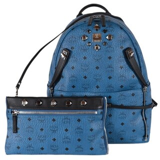 MCM Blue Studded Coated Canvas Visetos Stark Backpack Bag W/Pouch - Turquoise