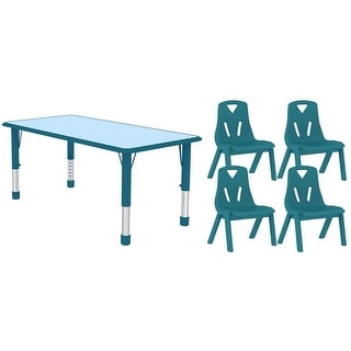 2xhome Kids Table and Chair Set Adjustable Leg Wavy Activity Table School Table Child Bright Color Table Preschool