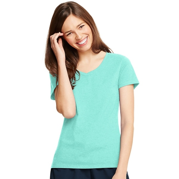 ea32a5724f923 Shop Hanes Women s X-Temp® V-Neck T-Shirt - Size - L - Color - Clean Mint - Free  Shipping On Orders Over  45 - Overstock - 13876833